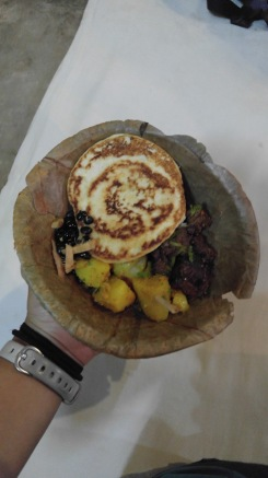 Traditional Newari food in a biodegradable bowl...the food is so spicy!