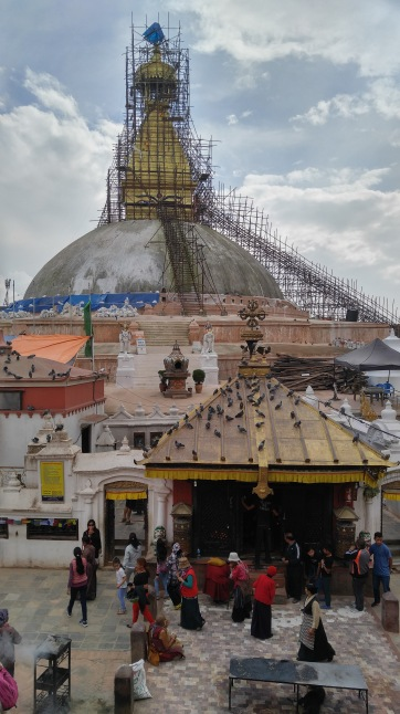 Boudhanath Stupa still under reconstruction